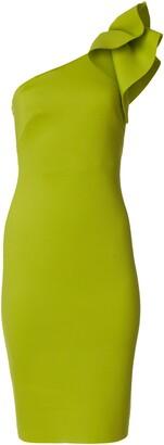 Brinker & Eliza Women's One Shoulder Scuba Cocktail Dress with Ruffle Sleeve