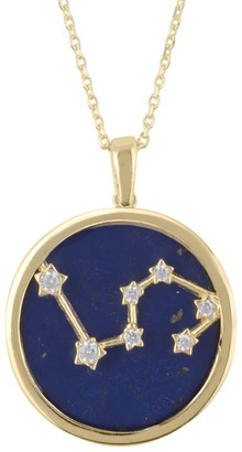 Latelita Zodiac Lapis Lazuli Gemstone Star Constellation Pendant Necklace Gold Leo
