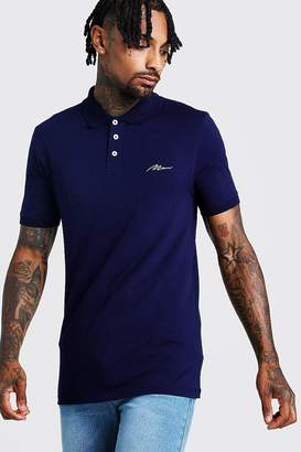 boohoo MAN Signature Muscle Fit Jersey Polo