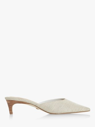 Dune Cristy Pointed Toe Kitten Heel Mule Shoes, Natural