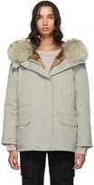 Yves Salomon Army Army Grey Down and Fur Cotton Short Parka