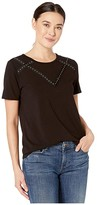 Vince Camuto Short Sleeve Studded Grosgrain Yoke Top (Rich Black) Women's Clothing