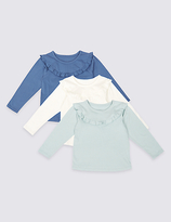 Marks and Spencer 3 Pack Pure Cotton Frill Detail Tops (3 Months - 5 Years)