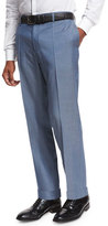 BOSS Flat-Front Straight-Leg Wool Trousers, Medium Blue