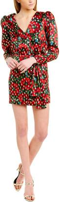 The Kooples Giant Poppy Silk-Blend Wrap Dress