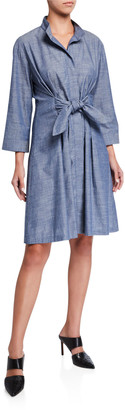 Finley Rocky Tie-Front 3/4-Sleeve Chambray Dress