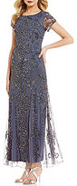 Pisarro Nights Cap Sleeve Beaded Gown