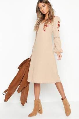 boohoo Embroidered Blouson Sleeve Midi Dress