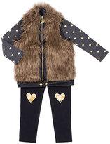 Betsey Johnson Hearts Galore 4-6x Three Pc Vest Set