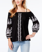 INC International Concepts Petite Embroidered Cold-Shoulder Top, Only at Macy's