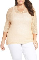 Nic+Zoe Plus Size Women's Sunkissed Sheer Linen Blend Pullover