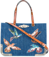 RED Valentino embroidered birds denim tote