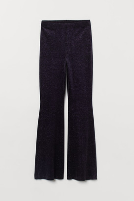 H&M Flared Velour Leggings - Black