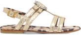 Roberto Cavalli Snake-embossed metallic sandals 5 - 9 years