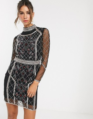 Frock and Frill long sleeve beaded detail dress-Black