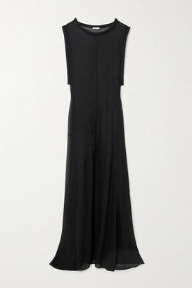 Oseree Paneled Chiffon Maxi Dress - Black