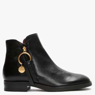 See by Chloe Louise Black Leather Flat Ankle Boots
