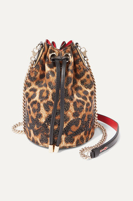 Christian Louboutin Marie Jane Embellished Leopard-print Lurex And Leather Bucket Bag - Brown