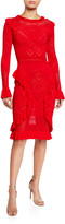 Alexis Sivan Knit Long-Sleeve Ruffle Dress