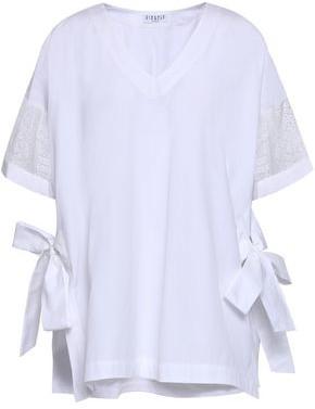 Claudie Pierlot Lace-trimmed Cotton-poplin Blouse