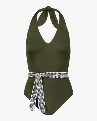 Lemlem Lena Deep-V Belted One-Piece Swimsuit
