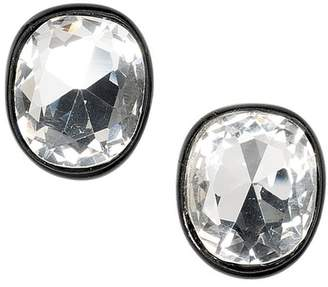 Kenneth Jay Lane Jackie Kennedy Black Plated Crystal Clip Earrings