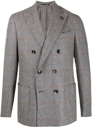 Lardini Houndstooth Double Breasted Blazer