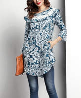 Reborn Collection Women's Tunics Blue - Turquoise Floral Lace Ruffle-Neck Tunic - Women