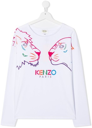 Kenzo Kids TEEN Tiger Friends-print cotton T-shirt