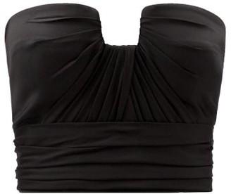 Alexander McQueen Gathered Silk-satin Bustier Top - Black