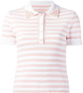 Natasha Zinko embellished collar polo shirt - women - ceramic/Polyester/Viscose - M