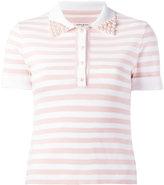 Natasha Zinko embellished collar polo shirt - women - ceramic/Polyester/Viscose - M