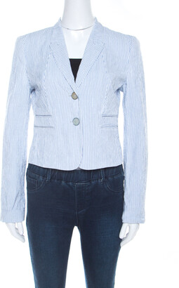 HUGO BOSS Light Blue Cotton Pin Striped Cropped Blazer M