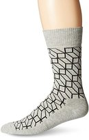 Happy Socks Men's 1pk Combed Cotton 1/2 Terry Crew-Grey Filled Optic