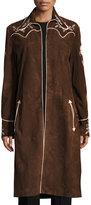 Ralph Lauren Long Embroidered Suede Coat, Brown