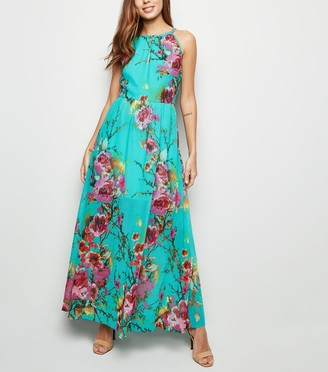 New Look Blue Vanilla Floral Halterneck Maxi Dress