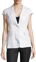Kaufman Franco Cap-Sleeve Notch-Collar Jacket, Optic