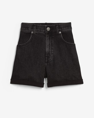 Express Super High Waisted Black Rolled Mom Jean Shorts