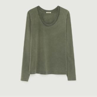 American Vintage Khaki Cotton Long Sleeves Fuzy T-Shirt - cotton | khaki | small - Khaki