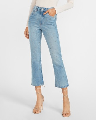 Express High Waisted Embellished Dot Cropped Flare Jeans