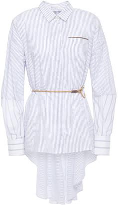 Brunello Cucinelli Belted Bead-embellished Striped Cotton-poplin Shirt