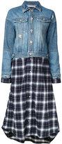 Aula patchwork long denim jacket - women - Cotton - 0
