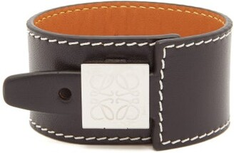 Loewe Logo-engraved Leather Bracelet - Mens - Black