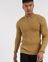 Asos Design ASOS DESIGN muscle fit wide rib polo neck jumper in tan