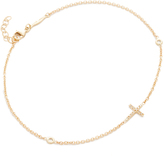 Jacquie Aiche 14k Gold Pave Cross Diamond Anklet