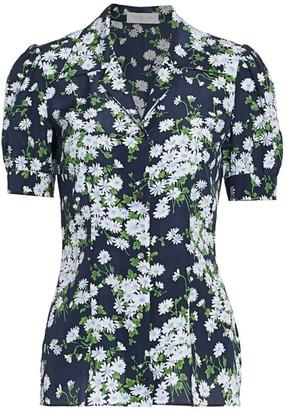 Michael Kors Floral Puff-Sleeve Silk Blouse