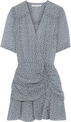 Veronica Beard Ruched Printed Silk Crepe De Chine Mini Dress