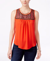 Amy Byer Juniors' Embroidered Illusion Tank Top