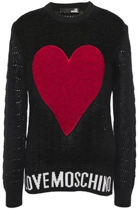 Love Moschino Jacquard-trimmed Appliqued Open-knit Sweater