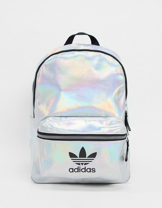 adidas Trefoil logo backpack in metallic silver
